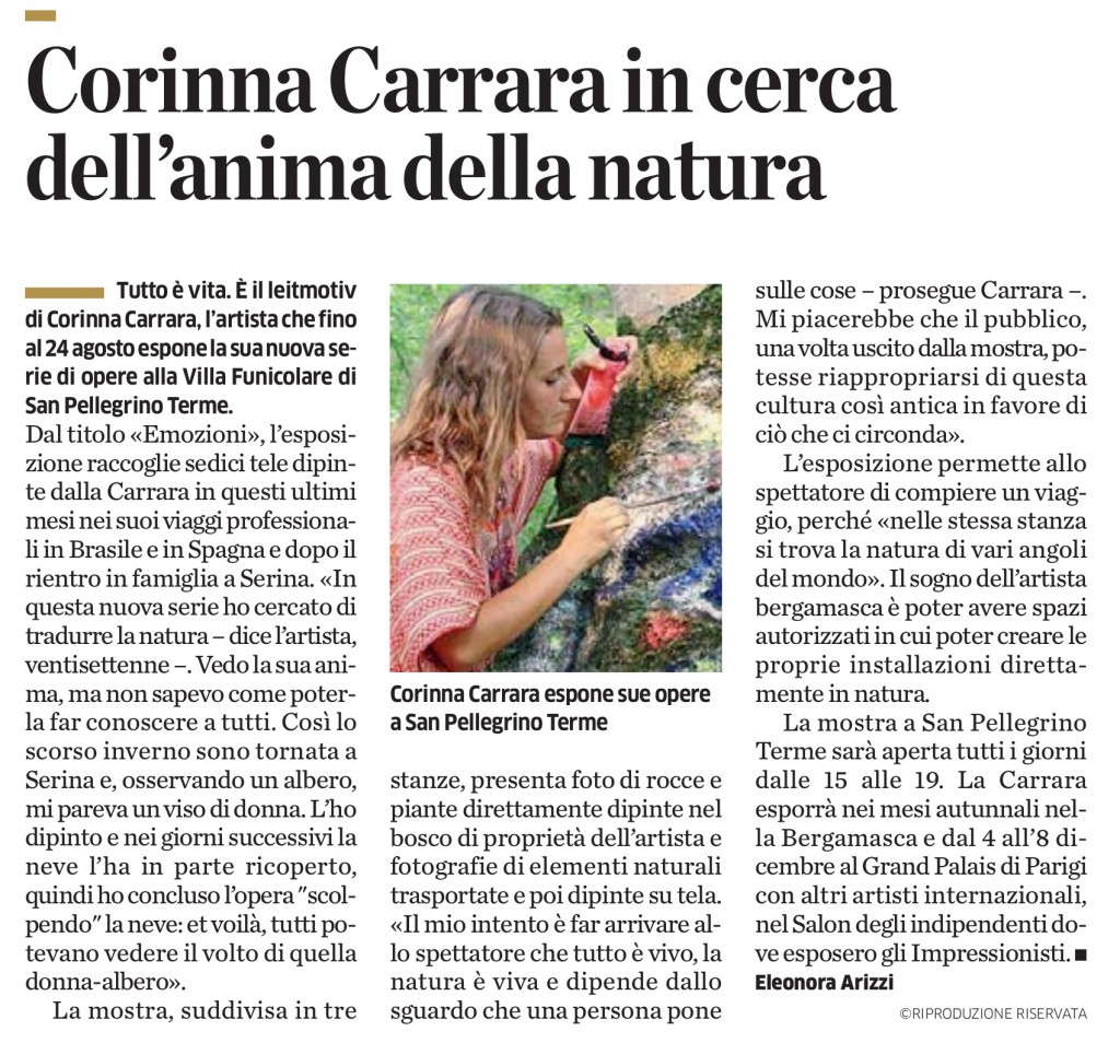 Corinna Carrara in cerca dell'anima della natura_300_Eco di Bergamo_14.8.2013